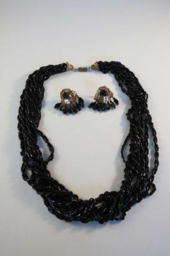 Reserved for OLGA Signed Miriam Haskell Filigree Black Glass Dangle Earrings & Necklace