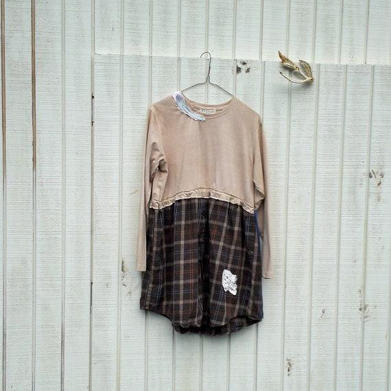 large - xlarge - funky dress / Eco Dress / Tattered Artsy Dress / Upcycled Clothing by CreoleSha