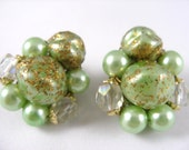 Vintage Japan Metallic Peridot Green Bead and Gold Fleck Clip Earrings