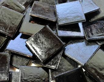 "20mm (3/4"") Black Vitreous Glass Mosaic Tiles//Mosaic Supplies//Mosaic Pieces//Crafts"