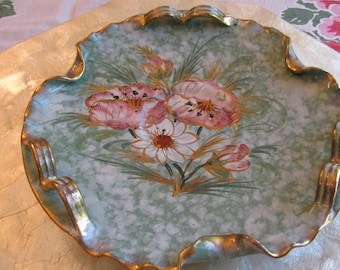 Beautiful Italian Floral Decorative Dish Gold Gilded Made in Italy Hand Painted