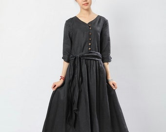 Classic style Black linen sundress/tunic(more colour and size choice)