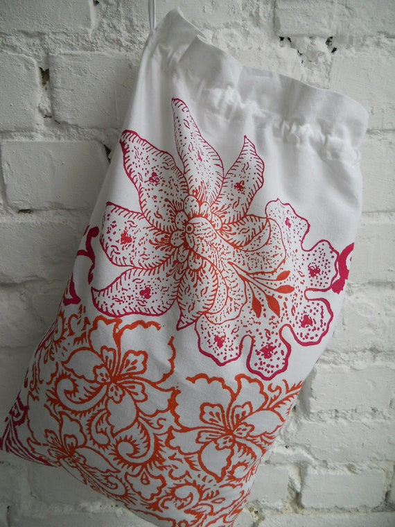 Hand block printed cotton drawstring bag  Keiko Orchid