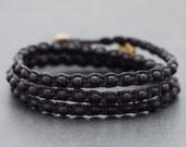 Black Onyx Triple Wrap Unisex Bracelet Anklet