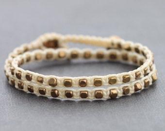 Ivory Brass Double Wrap Bracelet