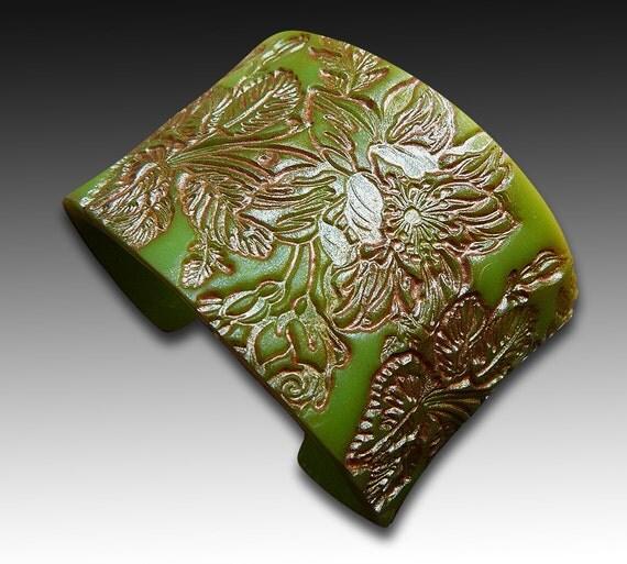 Faux jade blossom polymer clay cuff limited edition