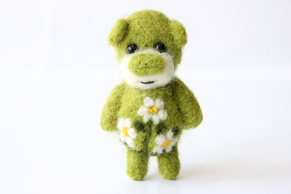 Miniature green felted summer bear 47