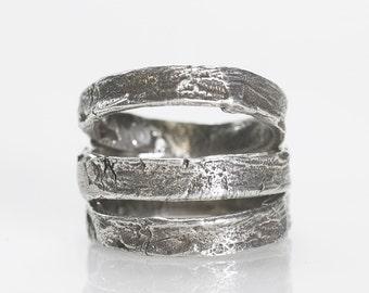Silver tree bark ring 3 stacker rings .925 sliver Blue Bayer Design NYC
