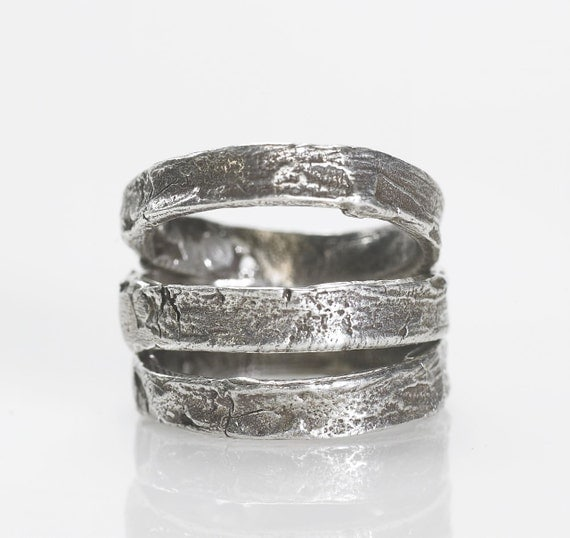 Silver tree bark ring 3 stacker rings .925 sliver Blue Bayer Design NYC