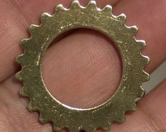 Brass 25mm Gear Cog Blank with 15mm Cutout Shape Charms for Stamping Texturing Soldering Blanks