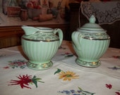 Clearance..Vintage 1940s Cream and Sugar Set, Green & 22 kt Gold Trim, Clay Ceramic Pottery, Shabby Cottage