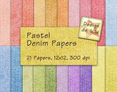 INSTANT DOWNLOAD Pastel Denim digital Scrapbbok Papers for Tags Cards Journaling