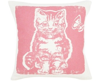 Decorative Pillow, Cushion, Pink Kitten, 10x10, Silk Screened Cotton Bark Cloth