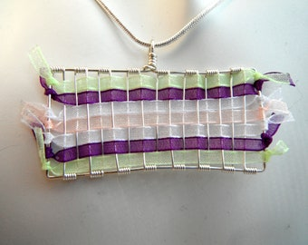 Wire and Ribbon Pendant - Lime, Purple, Peach and White