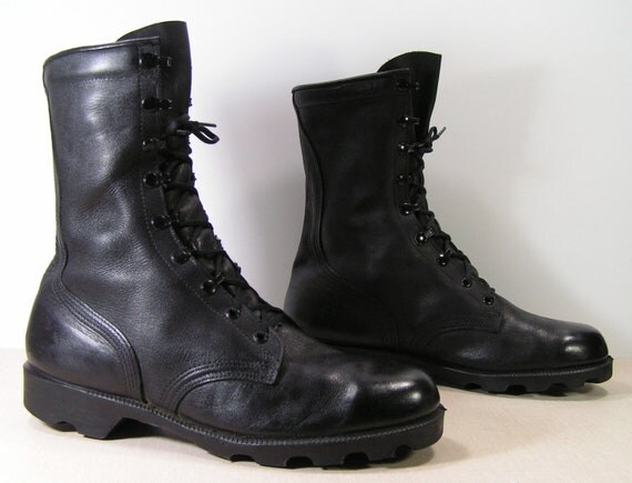 combat boots mens 10 w black grunge leather by
