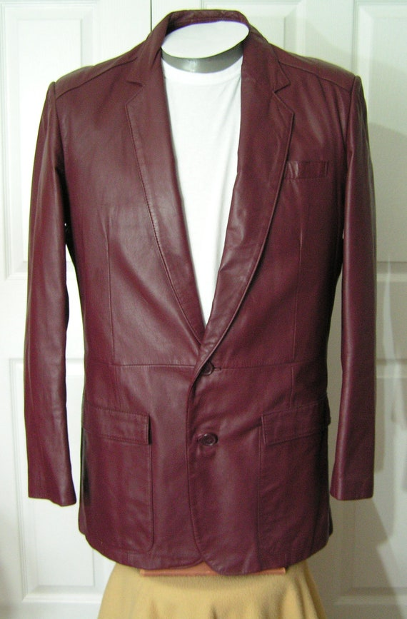 Vintage Leather Jacket Mens 44 Long Large Burgundy Coat 1980s