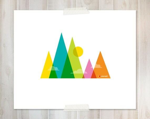 I Heart Colorado - Colorful Mountains Print - 8x10