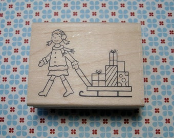Girl with Sled, Winter - A Muse Rubber Stamp