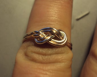 Etsy jewelry, infinity knot, double infinity knot ring,10kt with silver, your choice rose or yellow, up to size 8