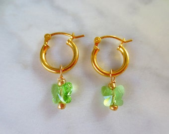SALE 10% OFF Gold Plated Hoops and Green Butterfly Swarovski Birthstone/Personalized Girls Earrings