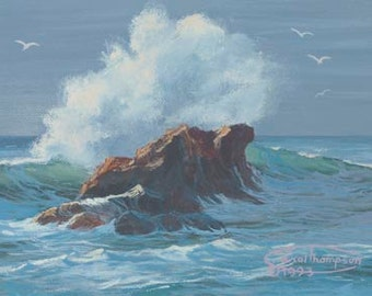 Crash Paper Giclee Print Seascape Ocean by Carol Thompson