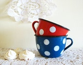 Polka Dots Vintage Enamel Mugs Something Old Cottage Decor A Set of Two Red and Blue