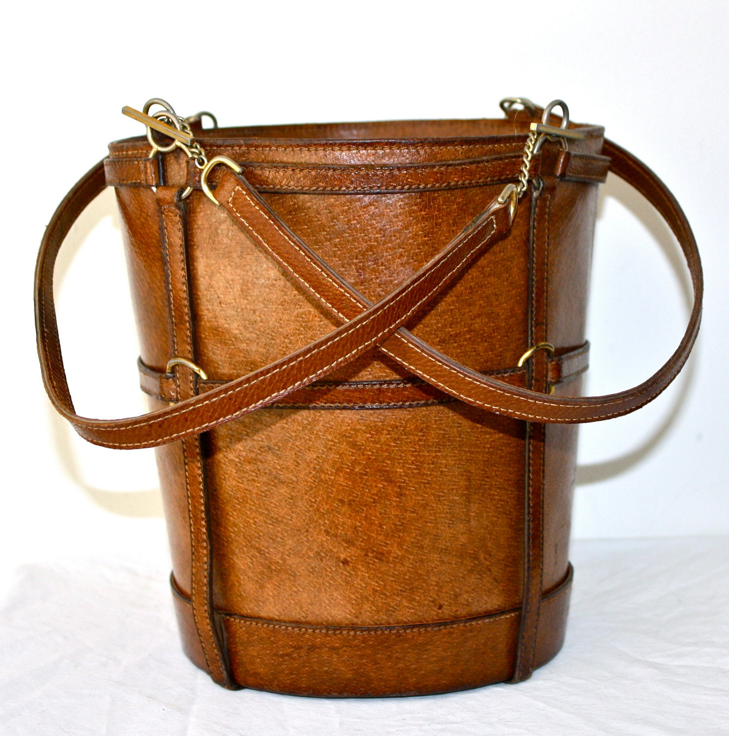Vintage Gucci Tote Rare Brown Leather Picnic Feed Bag