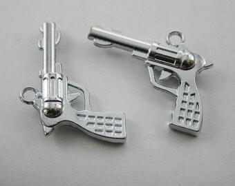 5 pcs.Zinc Silver Tone Handgun Pistol Weapons Charms Pendants Decorations Findings 36 mm. SPG3