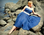 Ocean Blue Fitted Sundress with Lace Belt in Linen Custom Made to Fit You