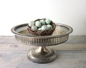 Vintage Silver Plate Footed Tray Compote