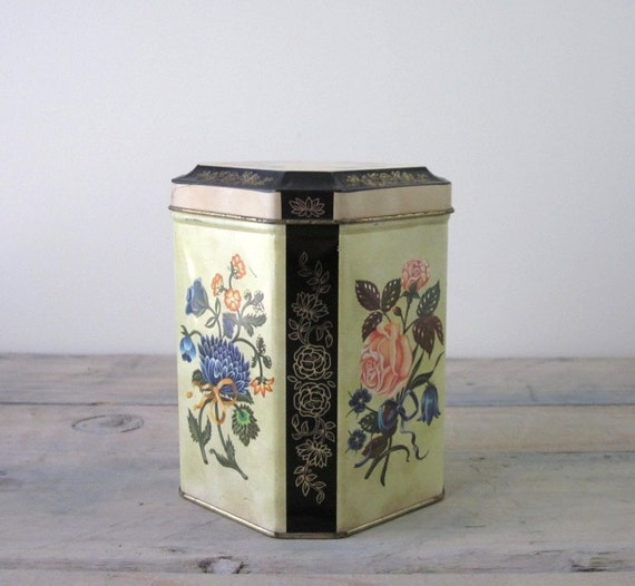 Yellow and Black Floral Tin Box from England by Daher