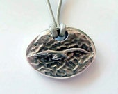 Seagull Necklace, Solid Fine Silver, Leather Thong