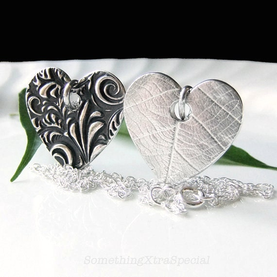 Silver Heart Necklace, Reversible Black and Silver Love Pendant