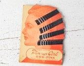 Vintage Pin Up Girl Hair Pins on Original Card Bride of Frankenstein Flapper Graphics
