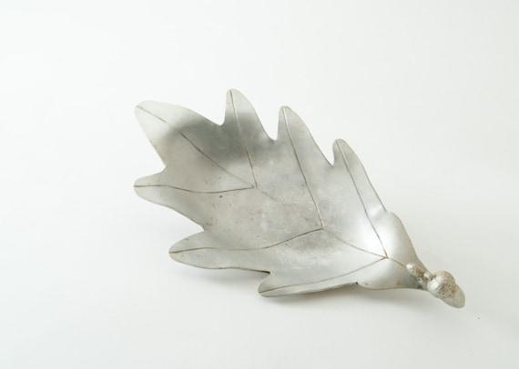 1930's Palmer Smith Hammered Aluminum Oak Leaf Bowl Tray - Acorn Handle
