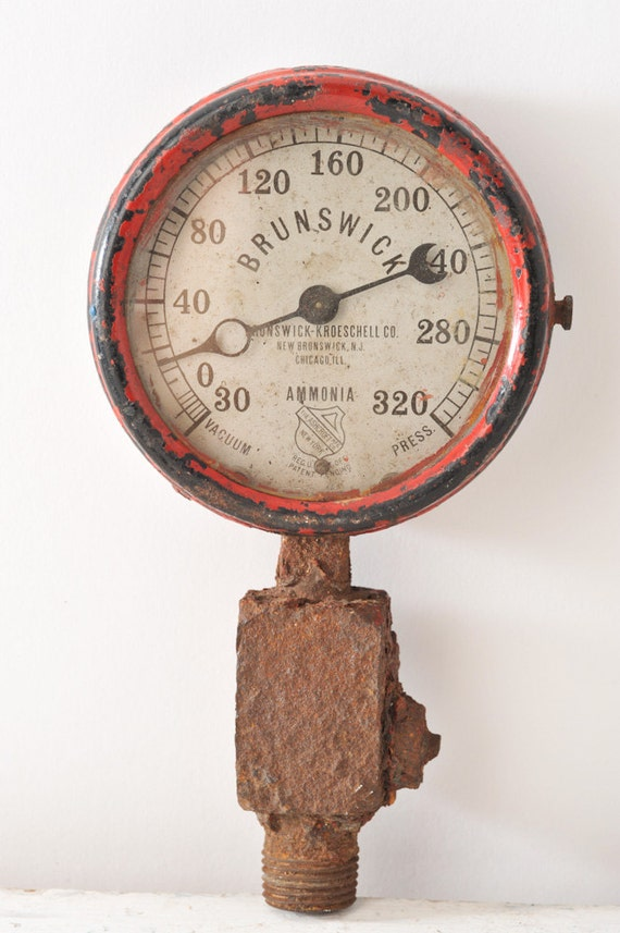 Vintage Pressure Gauge Industrial Antique