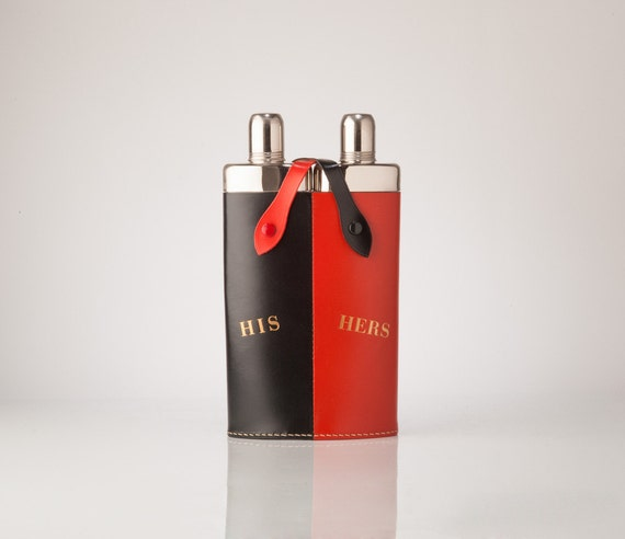 Vintage His Hers Double Flask with Black Red Leather Cover, Mid Century Barware, Made in Germany