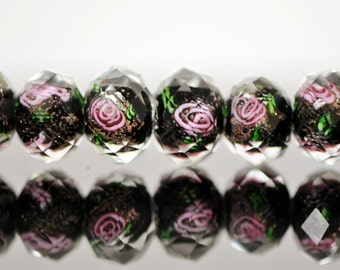 Lampwork Flower Glass Faceted Rondelle Pink Black 9x12mm  -(LL03-4) / 43Pcs