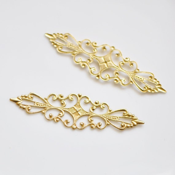 SALE! Raw Brass Filigree Stamping  Findings 56mm (#10519)/ 20pcs