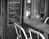 Cafe on Rue Cler Paris cafe black and white photograph