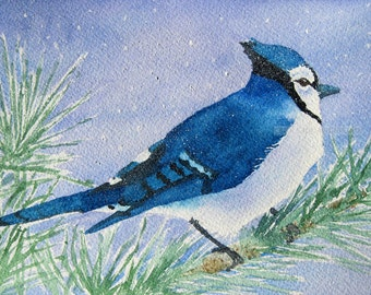 "blue jay watercolor painting archival print 8"" x 10"""