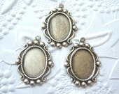 Antique silver plated setting for 14x10mm cabochon, lot of (3) - NR106