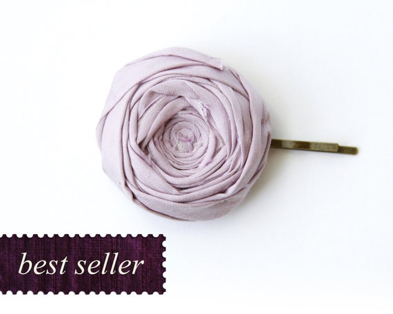 Rosette Bobby Pin Lilac Purple Silk Rosette Flower Rosette Bobby Pin Best Seller 1.5 inch