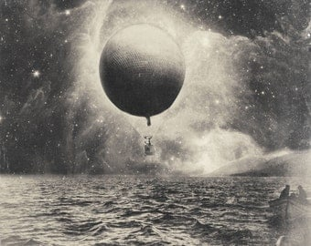 Surreal Space Collage Print. Letting Go 8x8 fine art print. Hot Air Balloon in Space.