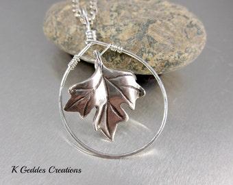 Sterling Silver Leaf Necklace, Leaf Pendant Necklace, Maple Leaf Necklace, Hammered Hoop, Chain Necklace