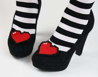 8 Bit Heart Shoe Clips, Pixel Hearts
