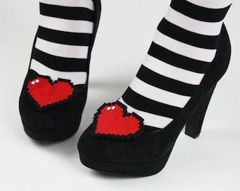 8 Bit Heart Shoe Clips, Pixel Hearts