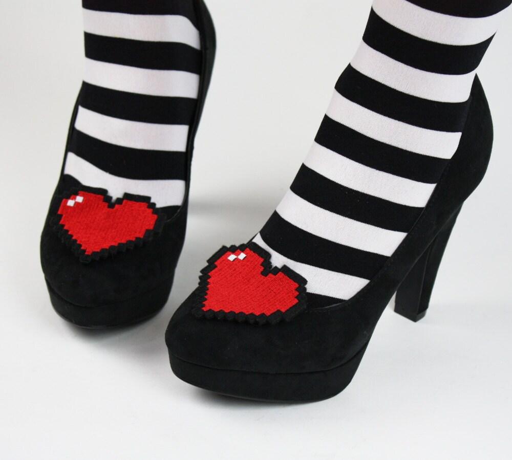 8 Bit Heart Shoe Clips Pixel Hearts