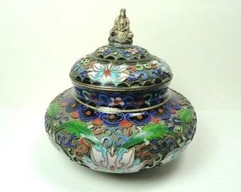 Antique Cloisonne Trinket Box  with Brass Emperor Knob// Vintage Enameled Keepsake Dresser Dish//