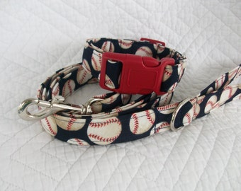 Baseball  Dog Collar and Leash Set